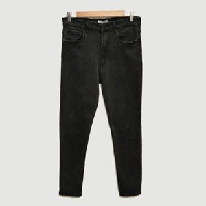 Zara Woman Distressed Black Hi Rise Skinny Jeans